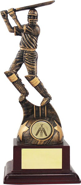 Bronze Cricket Batsman on Wood Base Trophy