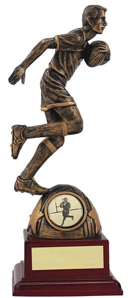 Rugby Figure on Wood Base Trophy
