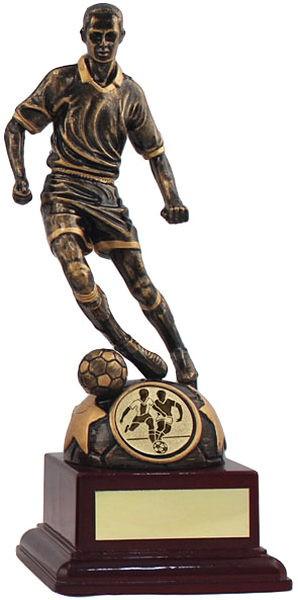 Bronze Footballer on Wooden base