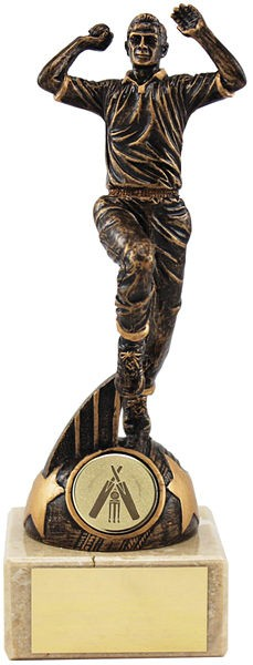Bronze Cricket Bowler On Marble Base Trophy