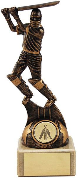 Bronze Cricket Batsman on Marble Base Trophy