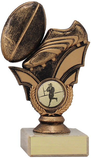 Bronze Rugby Boot and Ball Trophy