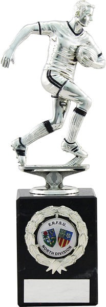 Silver Rugby Figure on Marble Base Trophy