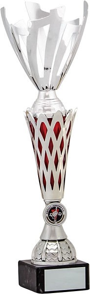 Silver Cup with Red Trim Trophy