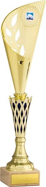 Gold and Blue Leaf Flute Trophy
