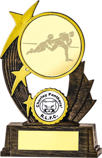 Bronze Tri Star Rugby Trophy