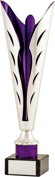 Silver / Purple Plastic Fluted Cup