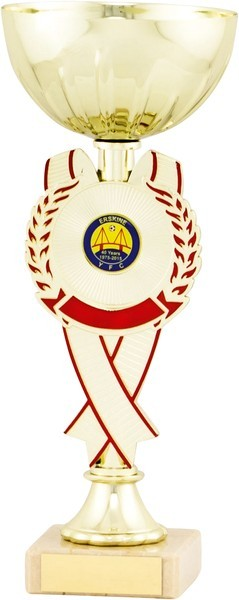 Gold Cup with Red Ribbon Detail