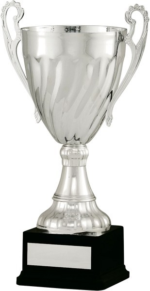 Silver Cup with Handles on Black Base
