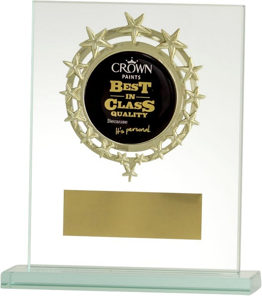 Clear Glass Plaque with Gold Star Centre