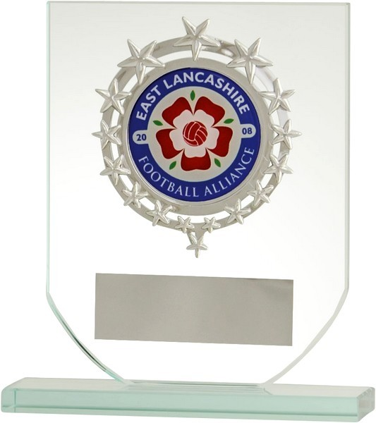 Clear Glass Plaque with Silver Star Centre