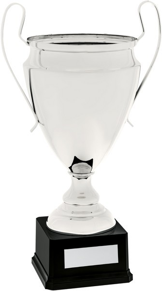 Silver Presentation Cup with Handles on Black Base
