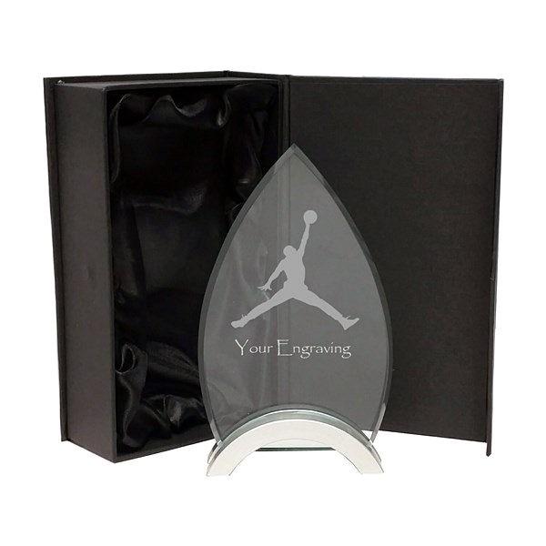 Arrowhead Jade Glass Trophy on Metal Base