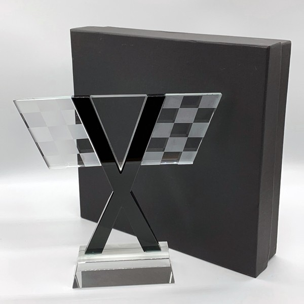 Large Glass Chequered Flag Trophy