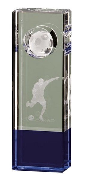 Crystal Tower Football Trophy With Blue Tint