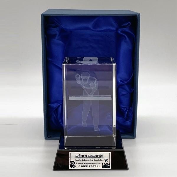 Glass Pool Trophy on Black Base