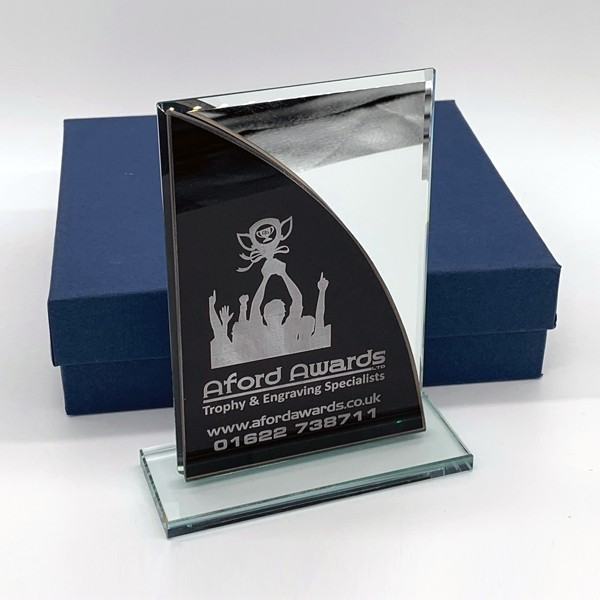 Black and Silver Glass Trophy with Presentation Box