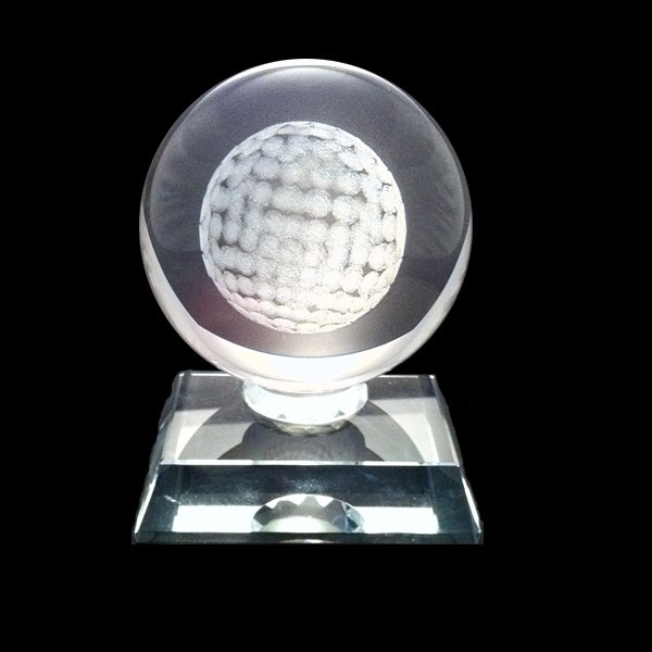 Golf Ball Glass Award - 3D Ball