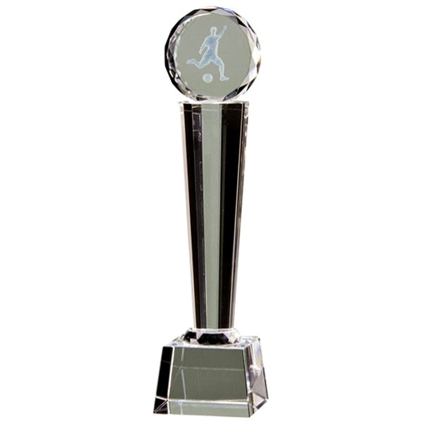Clear Glass Tower Trophy with Lasered Football Player