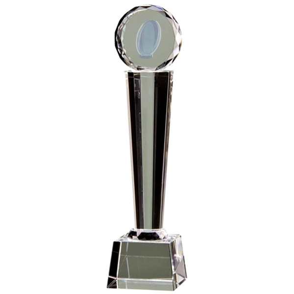 Clear Glass Tower Trophy with Lasered Rugby Ball