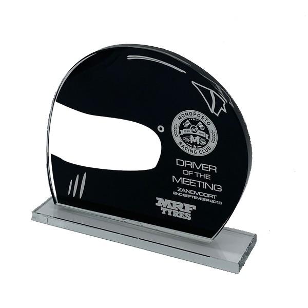 Black Glass Drivers Helmet Trophy