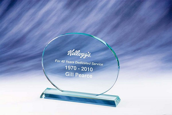 Superior Oval Glass Plaque Trophy