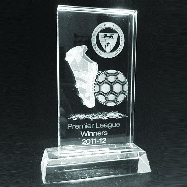 Glass Football Plaque