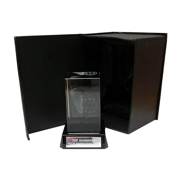 Glass Football Cube on Black Base
