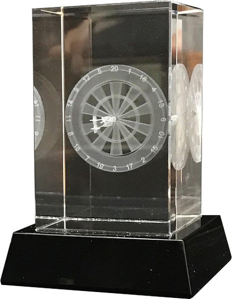 Clear Glass Darts Trophy on Black Base