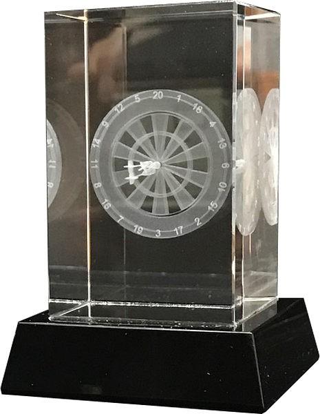 Clear Glass Darts Trophy on Black Base