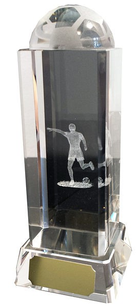 Footballer Column Glass Award with Half Ball Top