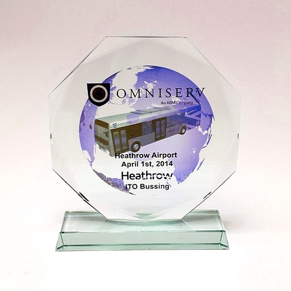 10MM Thick Octagonal Glass Plaque Trophy with free Colour Engraving!