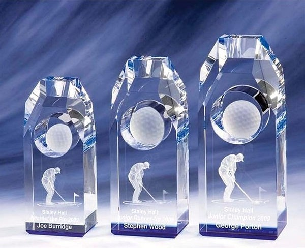 Glass Golf Trophy Blue Tinted