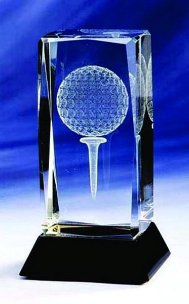 Glass Golf Trophy with lasered Golf Image