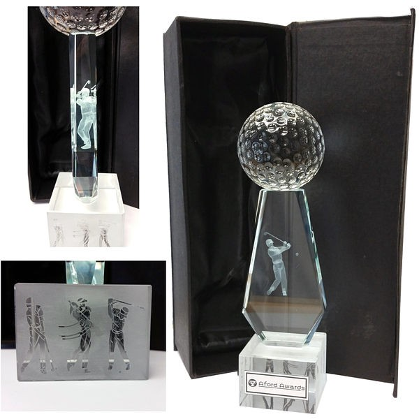 Golf Ball on top of 3D golfer trophy