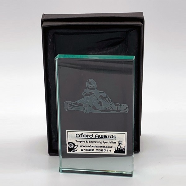 Glass Karting Trophies with Presentation Box