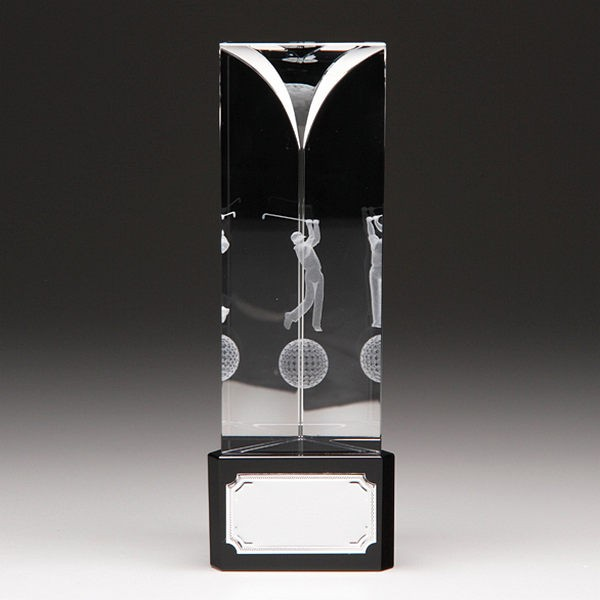 Glass Golf Trophy with Lasered Sketching