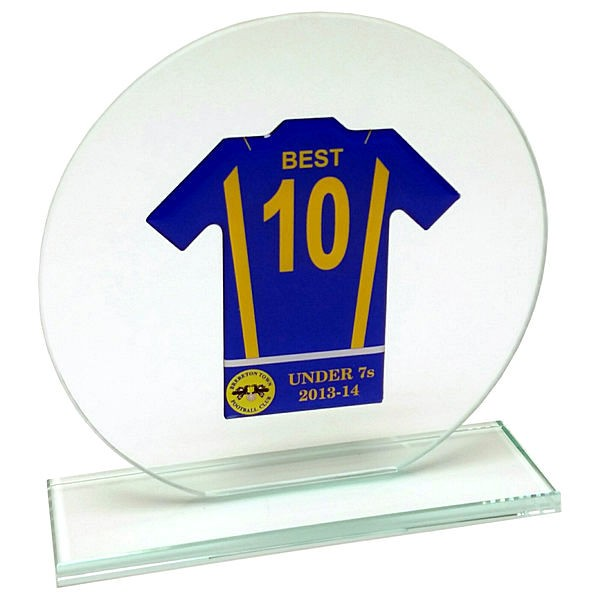 Jade Clear Glass Football Shirt Trophy