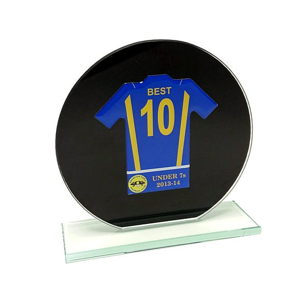 Jade Black Glass Football Shirt Trophy