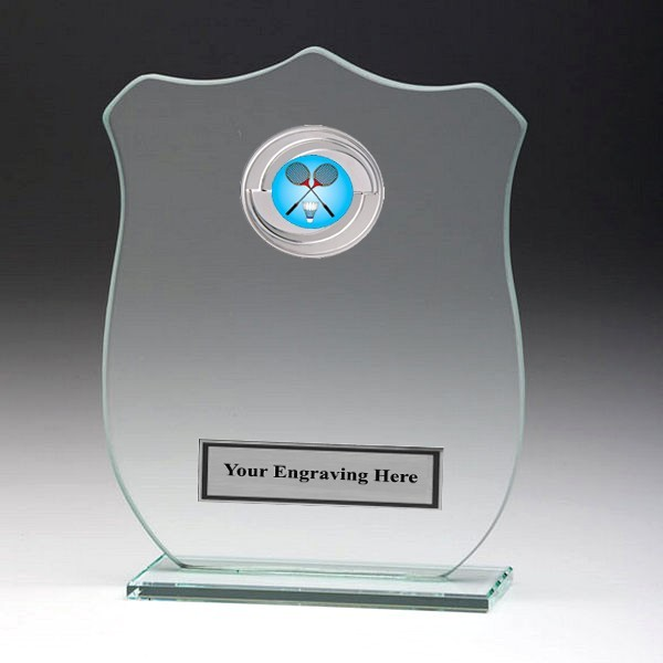 Jade Glass Shield Plaque with Badminton Insert