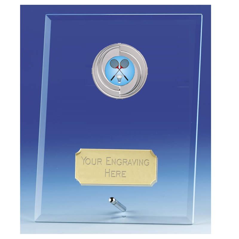 Crest Jade Glass Plaque with Badminton Insert