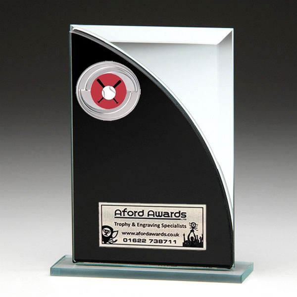 Black & Silver Glass Award with Baseball Insert