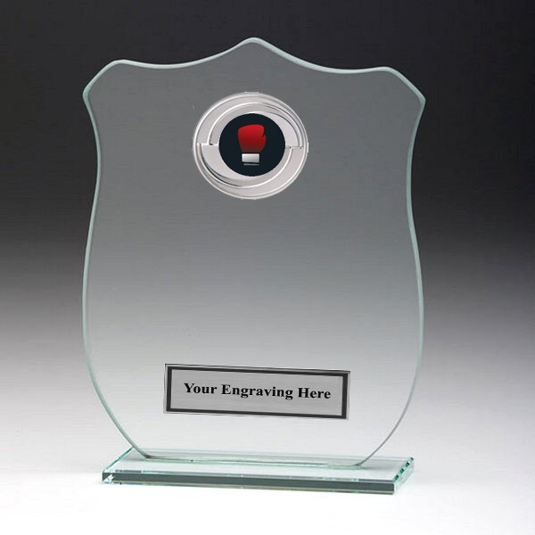 Jade Glass Shield Plaque with Boxing Insert