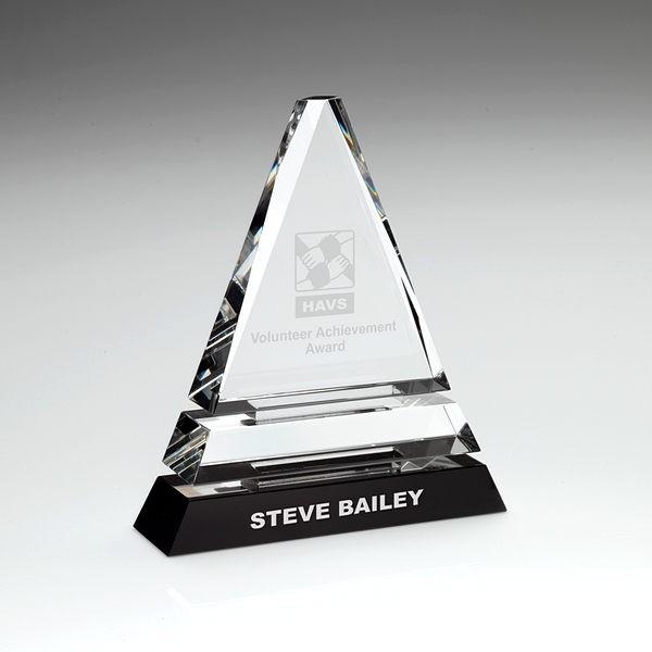 Clear Glass Pyramid on Black Base