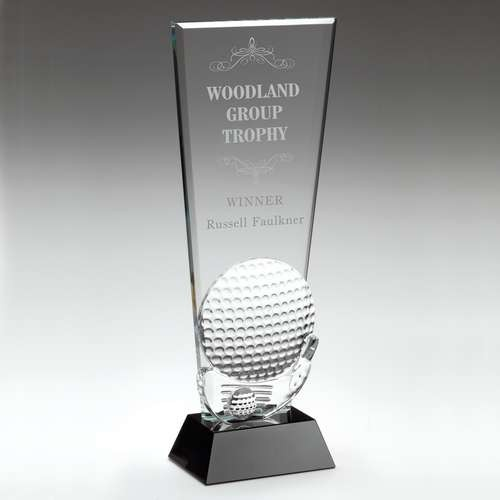 Clear Glass Golf Plaque with Club and Ball Detail on Black Base