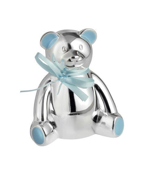 Silver Plated Teddy Bear Money Bank With Blue Bow