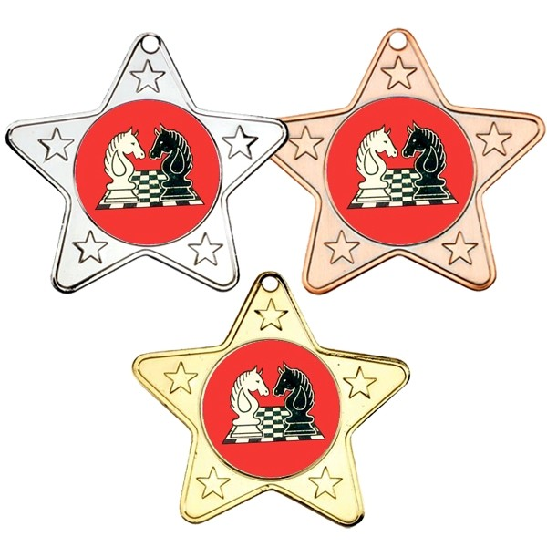 Chess Star Shaped Medals