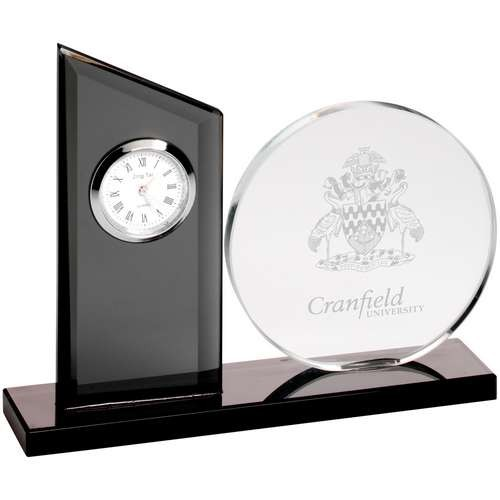 Clear/Black Glass Clock and Round Plaque