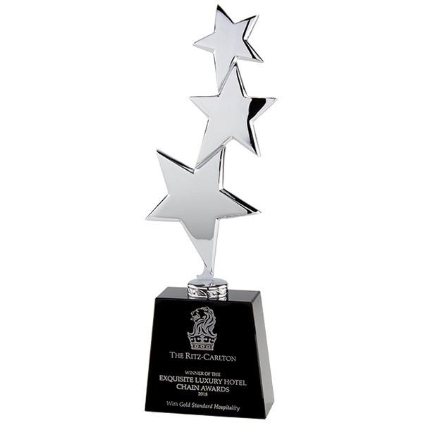 Los Angeles Crystal & Chrome Award Silver & Black