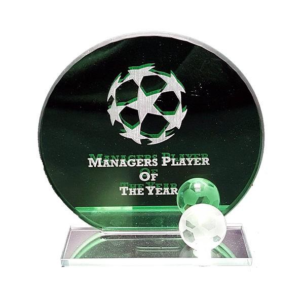 Green Football Glass Plaque